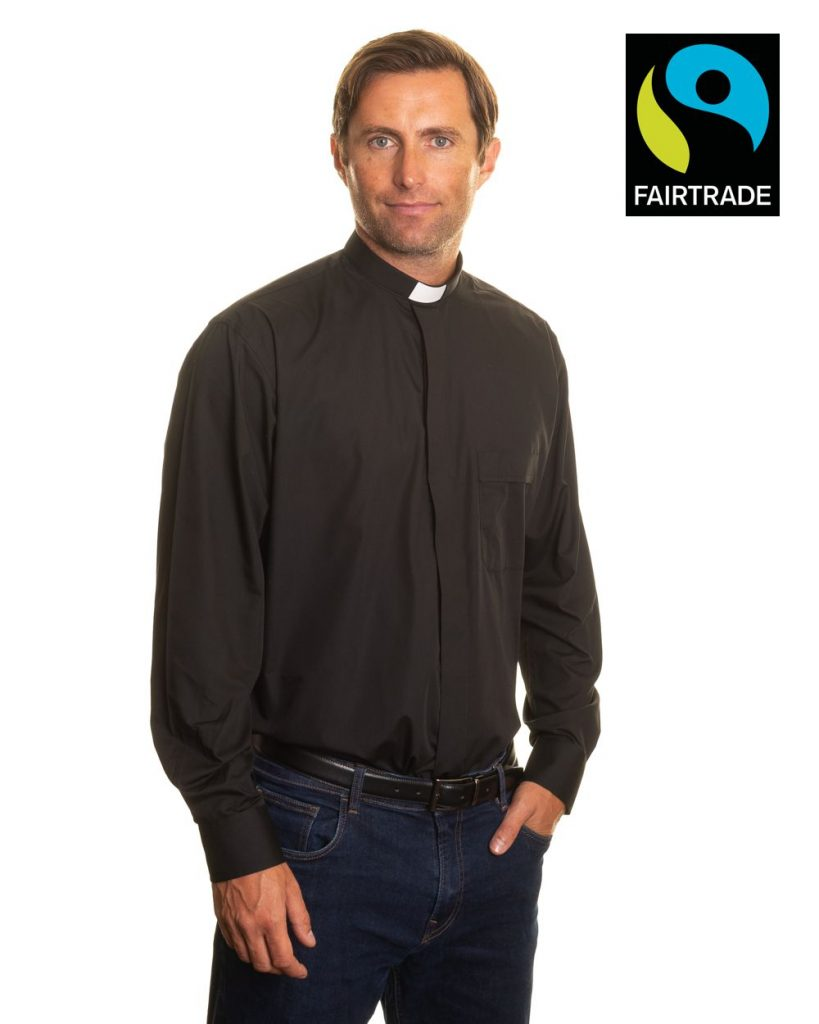 Fairtrade mens 1 inch tunnel collar long sleeve clerical shirt