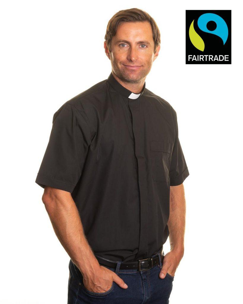 Fairtrade mens 1 inch tunnel collar short sleeve clerical shirt