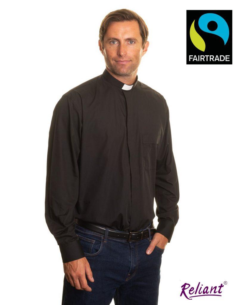 Fairtrade mens 1 inch tunnel collar long sleeve clerical shirt