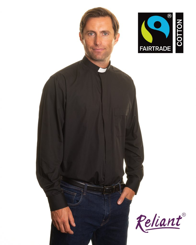 Mens 1 inch tunnel collar long sleeve clerical shirt made with Fairtrade cotton