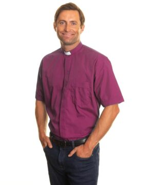 Purple short sleeve clergy shirt