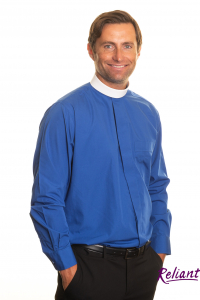 Mens tunic collar fly front long clerical shirt – royal blue