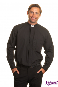 Mens Clerical Shirt – 1 inch tunnel collar long sleeve – black