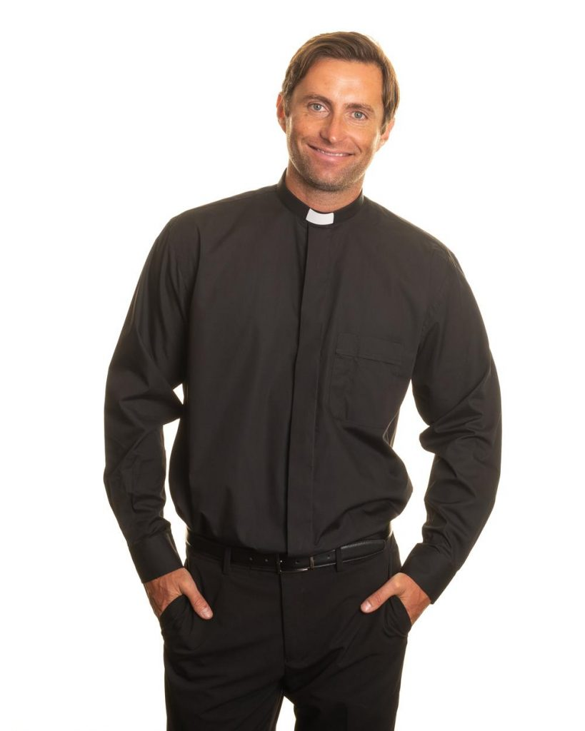 Mens Clerical Shirt – 1 inch tunnel collar long sleeve – black