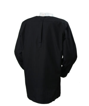 Black back fastening tunic collar clerical shirt