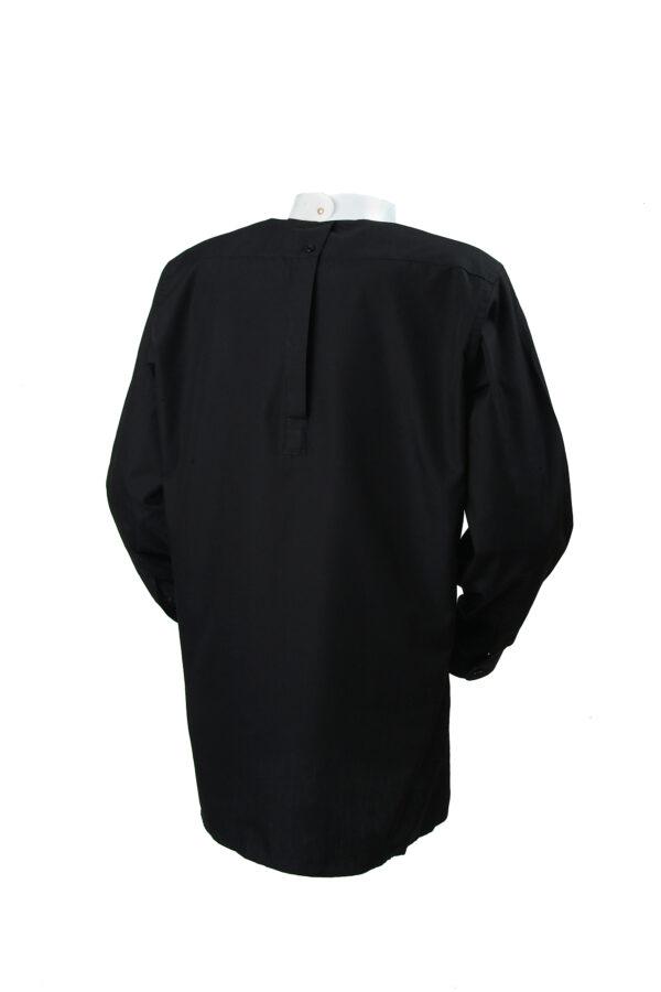 Black back fastening tunic collar clerical shirt