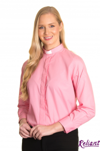 Womens 1 inch tunnel collar long sleeve clerical shirt – pink