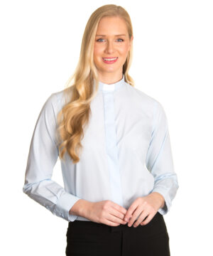 Reliant womens sky blue clergy shirt