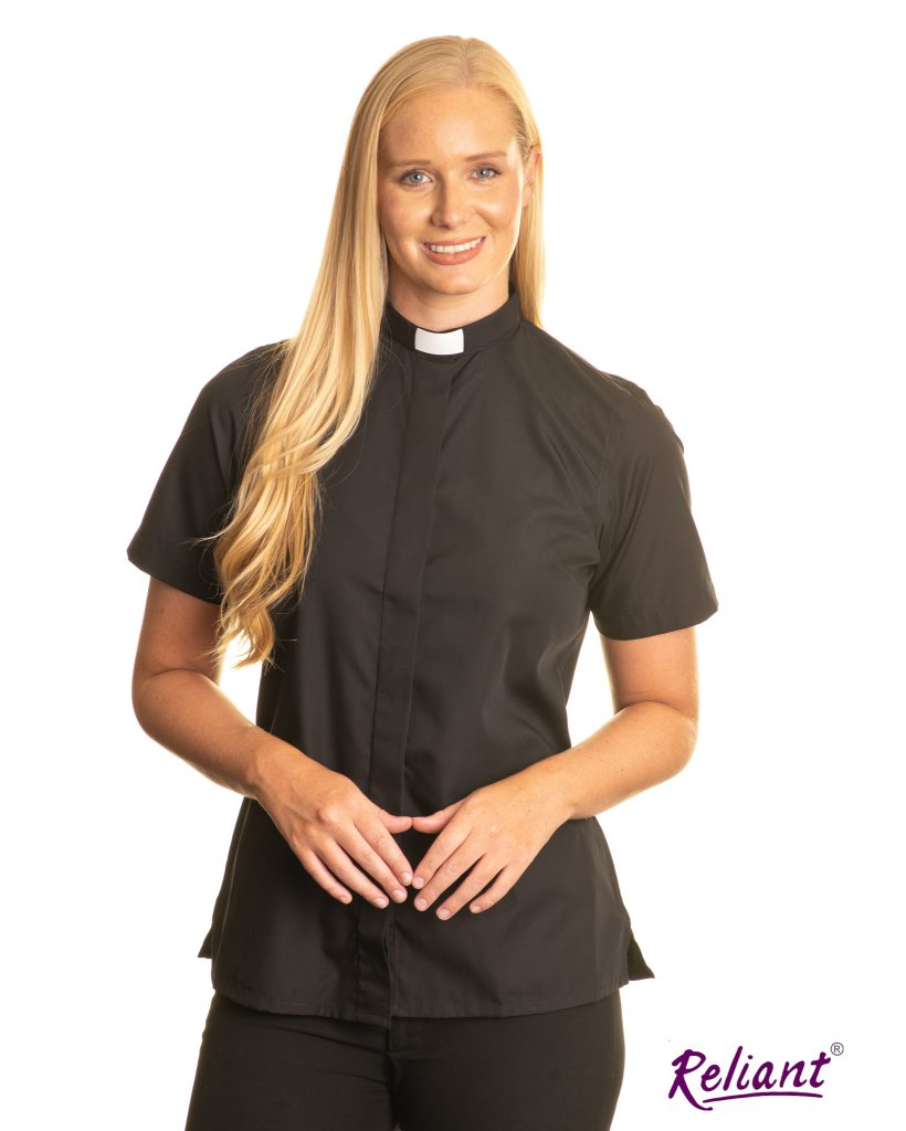 Womens 1 inch tunnel collar short sleeve clerical shirt – black