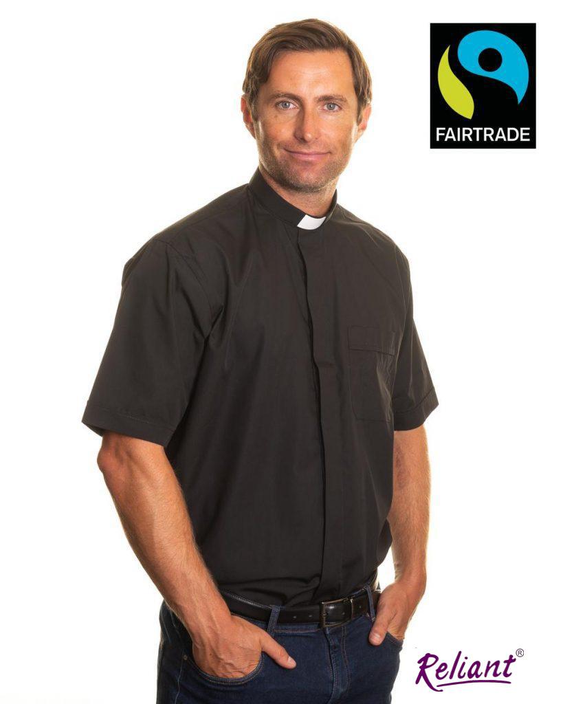 Fairtrade mens 1 inch tunnel collar short sleeve clerical shirt