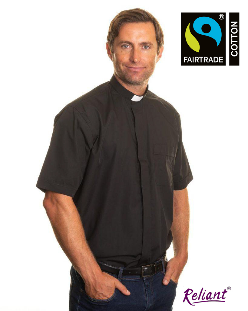 Mens 1 inch tunnel collar short sleeve clerical shirt made with Fairtrade cotton